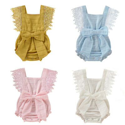 Newborn Infant Kids Baby Girl Boy Solid Lace Bow Romper Bodysuit Clothes Outfits
