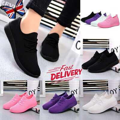 UK Women's Lady Sneaker Breathable Trainers Gym Sport Fitness Running Shoes Size