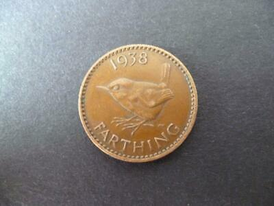 1938 Farthing Coin, King George The Sixth In Good Used Condition, Bronze.