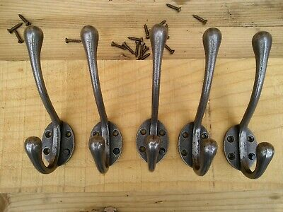 5 X Cast Iron Victorian Style Coat Hooks School Type, Natural polished iron.