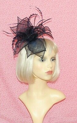 Elegant Navy Blue Sinamay Fascinator With Feathers & Flower on Head Band
