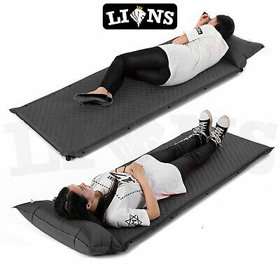 Lions/® Thick Self Inflating Camping Pillow Roll Single /& Double Mat//Pad Sleeping Bed Mattress