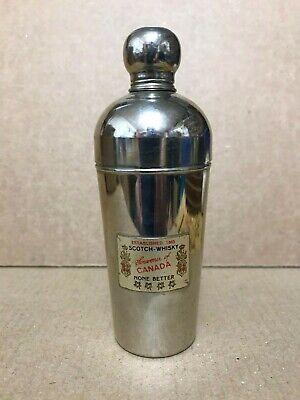 Vintage Cocktail Shaker Plus extra Scotch Whiskey Souvenir of Canada 1960's