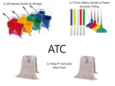 20l Speedy Bucket & Wringer, 137cm Abbey Handle & Plastic Kentucky Fitting ,2x P