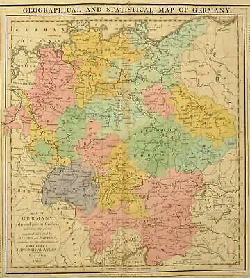 1813 Large Hand Coloured Map Germany Statistical & Geographical Battles & Seiges