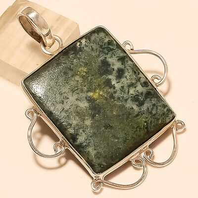 Natural Mexican Moss White Agate Pendant 925 Sterling Silver Party Ware Jewelry