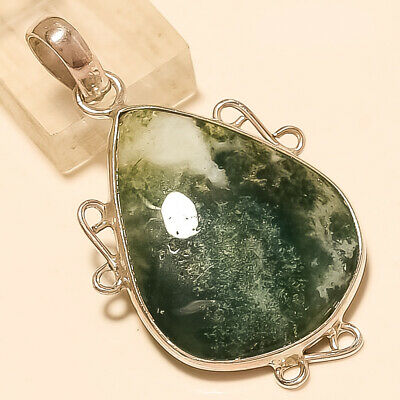 Natural Mexican Green Moss Agate Pendant 925 Sterling Silver Women Jewelry Gifts