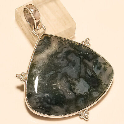 Natural Mexican Green Moss Agate Pendant 925 Sterling Silver Christmas Jewelry A