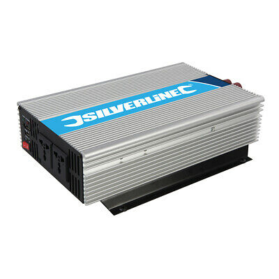 Silverline 12V Inverter with Battery Terminal Connectors (2 x 1000W) (444658)