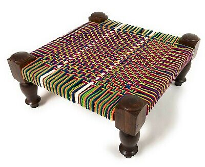 SALE -  Bright Multi Colour  Pattern  Woven Fair Trade  Indian Foot Stool