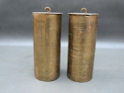 Pair antique or vintage Vienna wall clock brass cased weights spares parts