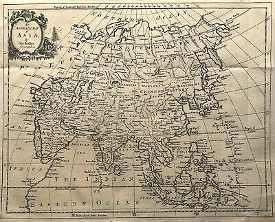 100% Original Map of ASIA c1764 by Geo Rollos Geographer, fine detail engraved