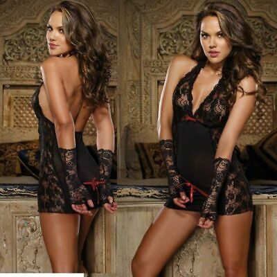 Women Black Lace Teddy Babydoll Gloves Cuffs Thong Lingerie - USA Seller