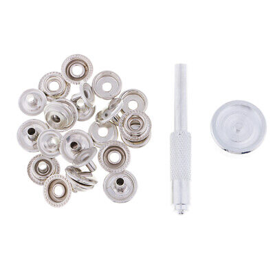 15mm Metal Poppers Snap Fastener Punch Kit Clothes Sewing Leather Crafts
