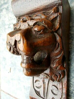 Antique Carved Oak Figure~Lion Head Carving~Gothic Wooden Architectural Corbel