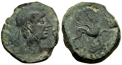 FORVM VF Castulo Hispania AE25 As 165-80 BC 13.380g Male Head / Sphinx