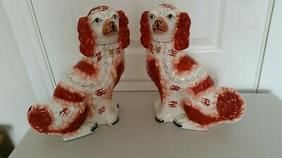 Antique Staffordshire Flatback Wally Dogs Liver Coloured Spaniels ~ pair