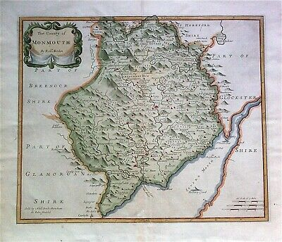 100% Original Map of Monmouth by Robert Morden c1695, copperplate, hand color