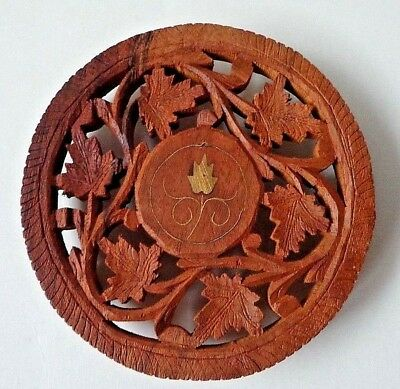 Two Hand Carved Floral Pattern Wooden Footed Trivets With Inlays From India