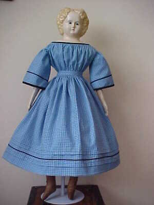 """Antique Repro Blue Windowpane Dress For 26-30"""" Paper Mache, China, Bisque Doll"""