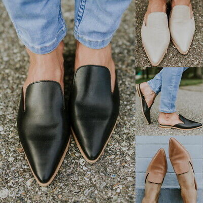 Women Flat Sandals Leather Soft Pointed Toe Mule Slippers Flip Casual Shoes F1