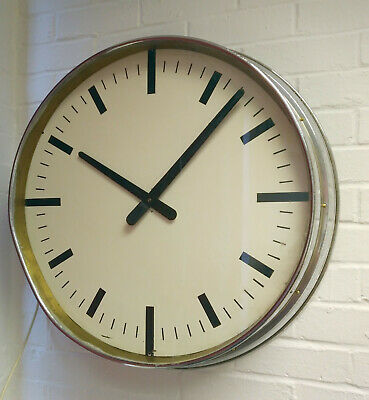 """Huge Vintage Retro Industrial 1940s 24"""" White Chrome Wall Clock Electric Working"""