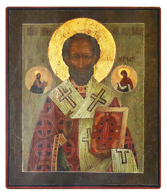 Antique 19th C Russian Hand Painted Icon of the St. Nicholas the Wonderworker
