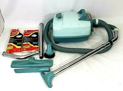 EUREKA 755 A Vtg Blue Complete Working Canister Vacuum Bundle Bags & Accessories