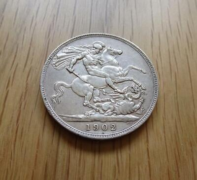 Edward Vii Sterling Silver Crown 1902 5 Shillings Nice Coin Great Britain Uk