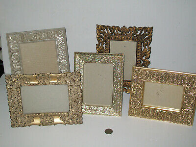 Lot of 5 Ornate Gilt Metal & Resin & Silver Wood Picture Frames Assorted Sizes
