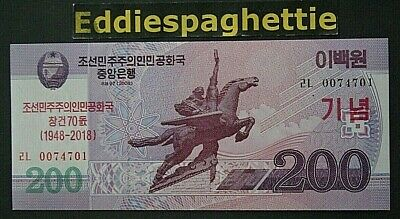 Korea North 200 Won 70th anniversary 2018 UNC p-new