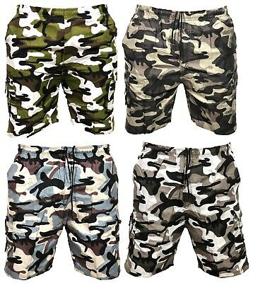 fe315f17a8 New Mens Army Camouflage Cargo Elasticated Shorts Combat Half Pants Bottoms  Camo