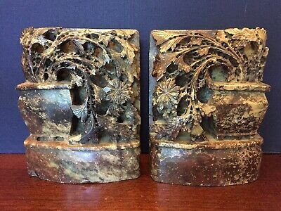 Pair of Antique Chinese carved soapstone book ends.