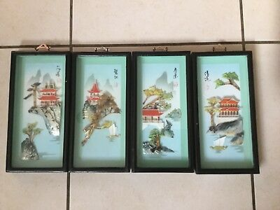 Extremely Rare 4 Set Of Chinese Mother Of Pearl & Shell 3 D Pictures Retro C Pic