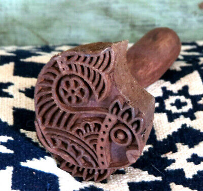 Primitive Farmhouse Carved Wood Detailed Fish w Flower Butter Mold Stamp Press