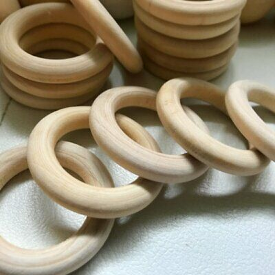 NEW 15-55mm DIY Baby Wooden Teething Rings Bracelet Crafts Unfinished Wood WT