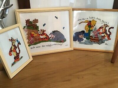Vintage Winnie The Pooh /Tigger Embroidered Pictures X 3 Childs Nursery/Bedroom