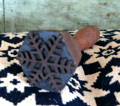 Intricately carved SNOWFLAKE Farmhouse Primitive wood Butter Mold Stamp Press