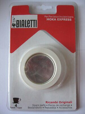 Bialetti: 3 Replacement Seals and 1 Filter for 4 Cup Moka Express - Blister Pack