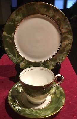 Aynsley Bone China England Onyx Green Gold Rim TEA CUP Saucer Plate 3 Set*