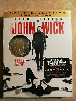 Keanu Reeves John wick 2 film collection (Blu-Ray+DVD+Digital W/ gold coin)
