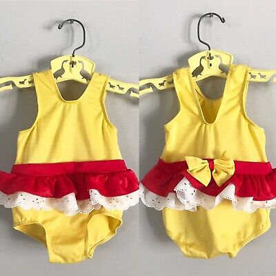 Vintage Carters Red & Yellow Bathing Swim Suit Size 18mo Ruffles Bow Lace