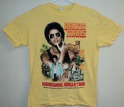 BRUNO MARS Moonshine Jungle Concert Tour Authentic EUC 2 Sided Logo T Shirt L