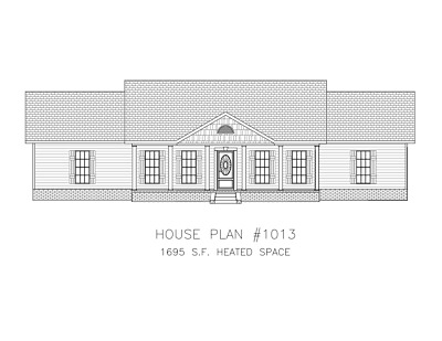 Ranch House Plans 1695 SF 3 Bed 2 Bath Split Bedrooms Open Floor (Blueprints)