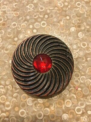 Victorian Gay Nineties Button  Red Paste Stone Antique/ Vintage
