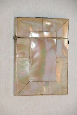 Antique 19th Century Ladies Card Case In Mother Of Pearl.