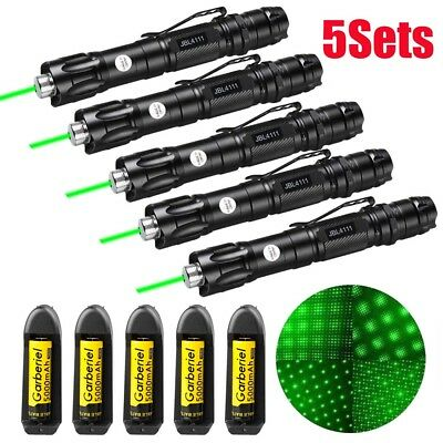 5x Military Green Laser Pointer Pen 1mW 50Miles Beam Light+Battery+Charger Focus