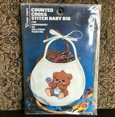 Vogart Crafts 8759G Counted Cross Stitch Bear Baby Bib for Embroidery or Paint