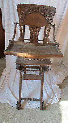 Antique Victorian Oak Wood Cane Combination Child Folding High Chair Stroller