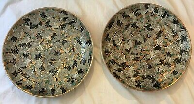 """Pair of Japanese Chargers. Thousand Crane Motif. Early 20th Century. 18"""""""